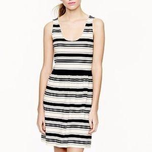 J. CREW Black and Cream Striped Villa Dress Small